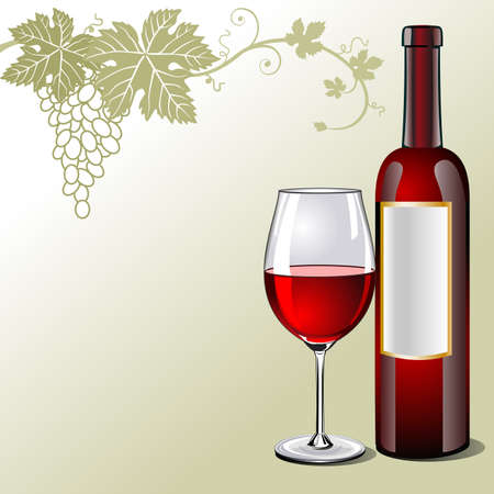 Glass of red wine with bottle and grapes Vector