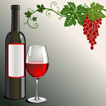Glass of red wine with bottle and grapes on green Vector