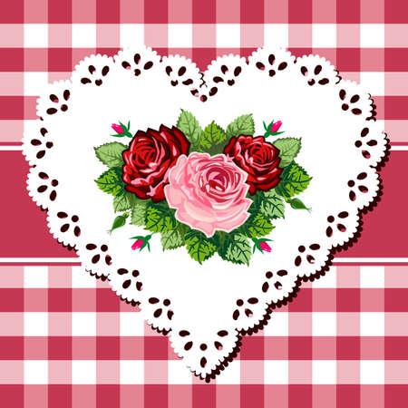 Vintage rose bouquet on lace heart Vector