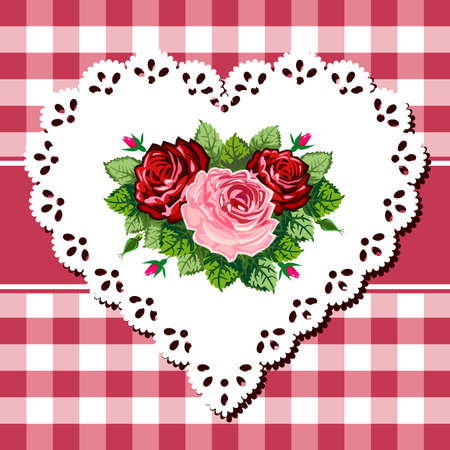 Vintage rose bouquet on lace heart Illustration