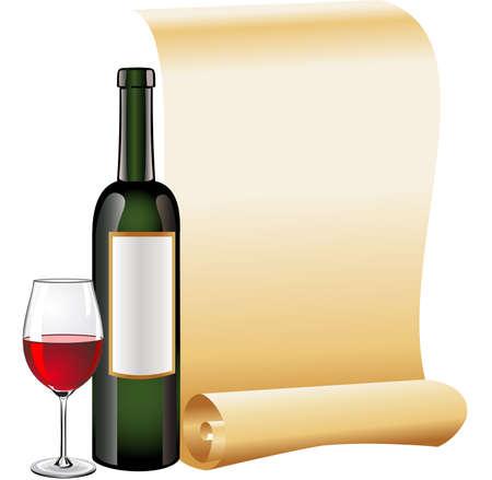 Vaso de vino tinto con botellas y papel viejo de desplazamiento Ilustración de vector