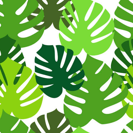 Monstera floral leaves seamless pattern Ilustracja