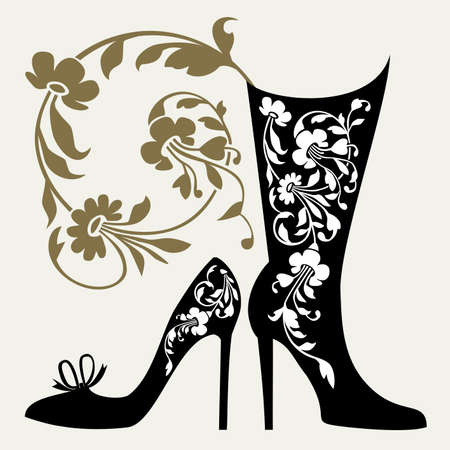 fashion boutique: Black silhouettes of women shoes collection and ornaments