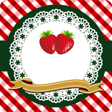 mermelada: Etiqueta de fresa Vectores