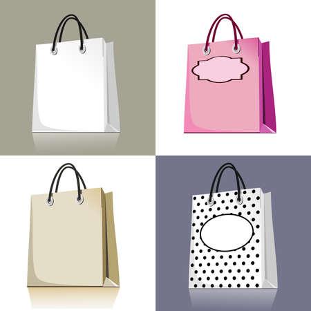 さまざまなデザインや色の買い物袋のセット  イラスト・ベクター素材