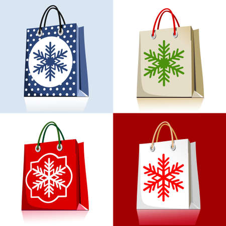 set of christmas shopping bags Ilustracja