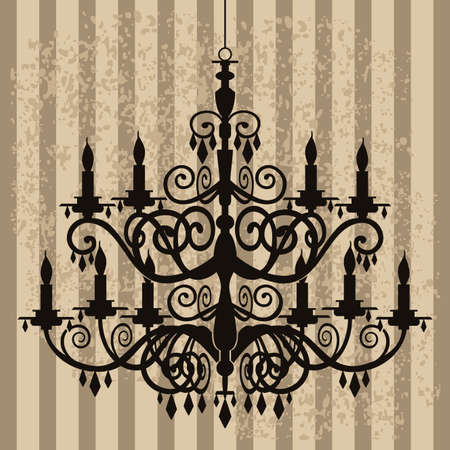 chandelier background: Vintage chandelier on antique background
