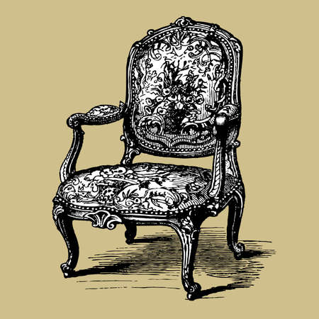 Antique baroque armchair Vector