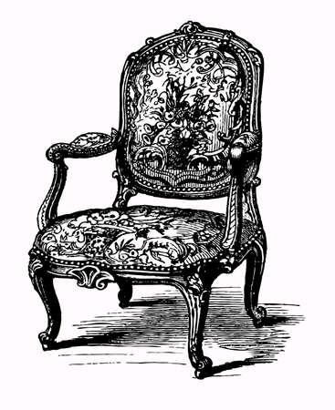muebles antiguos: Antiguo sillón Vectores