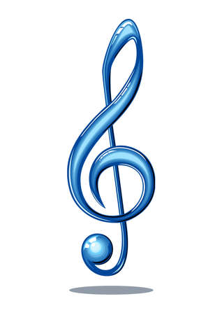 Blue 3d glossy music note isolated on white background