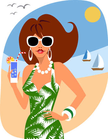 Woman on holiday Vector