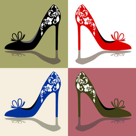 Women s shoes: Bóng của womens giày, giày cao gót với các đồ trang trí, vector illustation