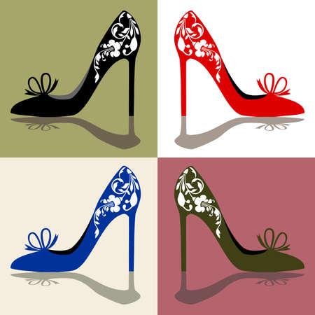 tienda de zapatos: Siluetas de mujer zapatos, tacones altos con adornos, vector illustation