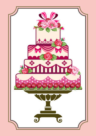 Cake with roses Stock Vector - 10517192