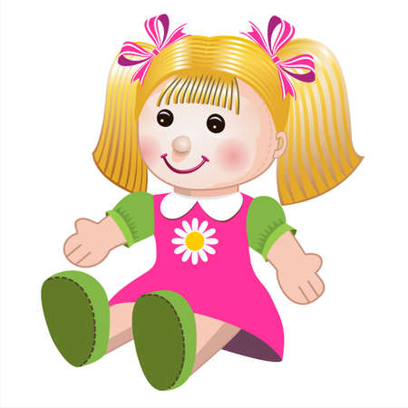 doll: Vector illustration of girl doll