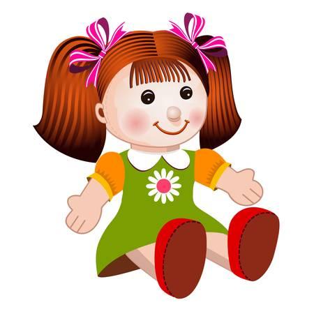niños sentados: Ilustración vectorial de chica muñeca