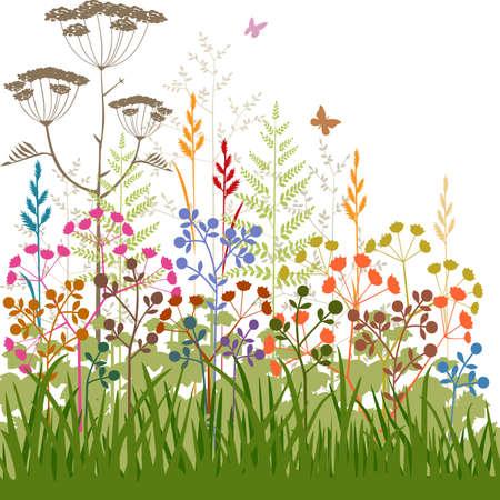 Kleurrijke abstracte planten en grassen achtergrond
