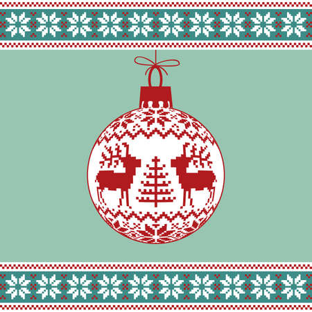 Christmas ball with nordic pattern Vector