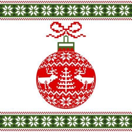 Christmas ball with deers Vector