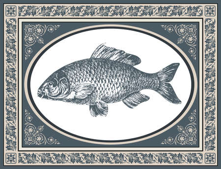 Fish carp vector illustration, antique graphic and stylized frame with corner ornaments