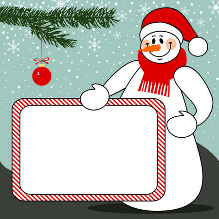 Snowman with billboard christmas vector background Vector