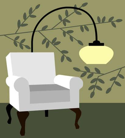 White armchair on natur background modern interior vector illustration Vector