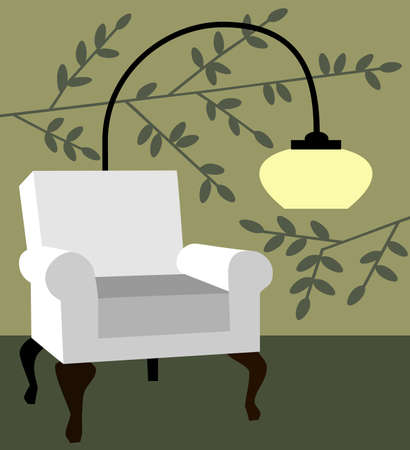 living room design: White armchair on natur background modern interior vector illustration