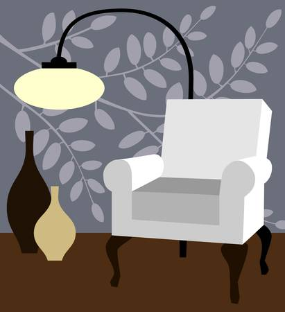 White armchair on natur blue background modern interior vector illustration
