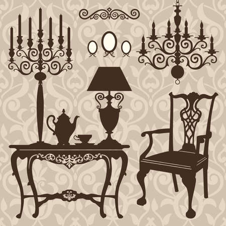 Set of antique furniture Vector