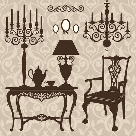 Set van antieke meubelen Stock Illustratie