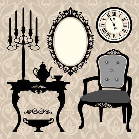 muebles antiguos: Conjunto de muebles y objetos antiguos Vectores