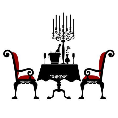 Glasses of champagne and candles: Bữa ăn tối lãng mạn cho hai Hình minh hoạ