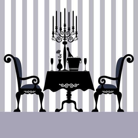 Glasses of champagne and candles: Bữa ăn tối Hình minh hoạ