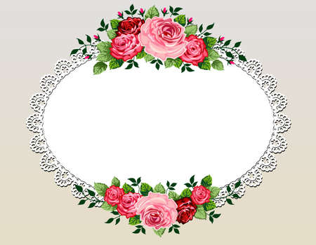 lace frame: Vintage roses bouquet frame Illustration