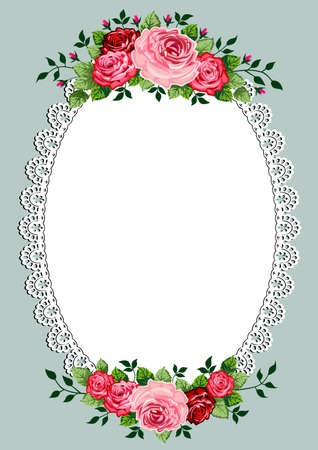 an oval: Vintage marco ovalado con rosas espacio para el texto o el diseño, plantilla de la invitación