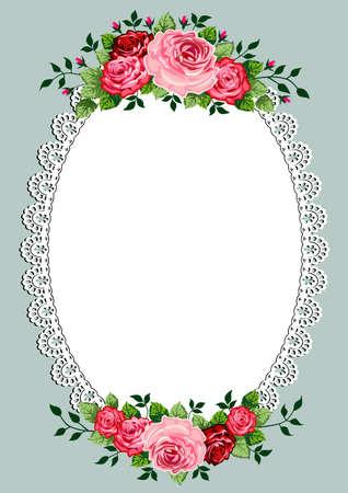 owalne: Vintage róże owalnej ramce z miejsca na tekst lub projekt, szablon zaproszenia