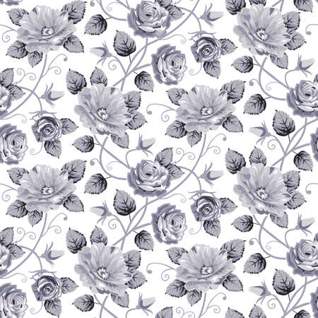 blue roses: Roses seamless pattern