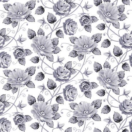 gray pattern: Roses seamless pattern