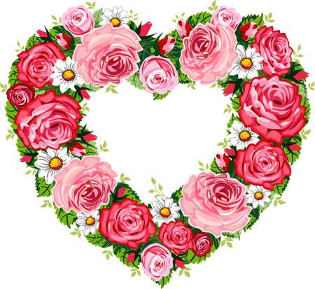 Heart roses frame Vector