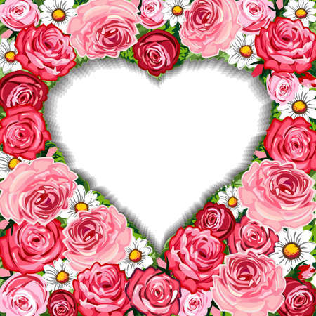 victorian valentine: Roses background and heart frame