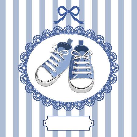 Blaue Baby-Schuhe und Zarge