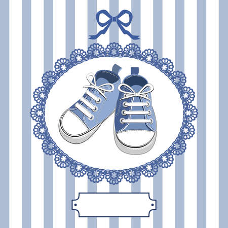 Blue baby shoes and frame Vector