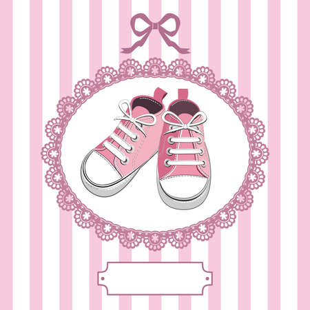 walking shoes: Pink baby shoes and lace frame Illustration