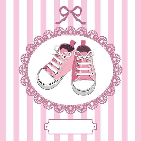 Rosa Baby-Schuhe und Spitzen Frame Vektorgrafik