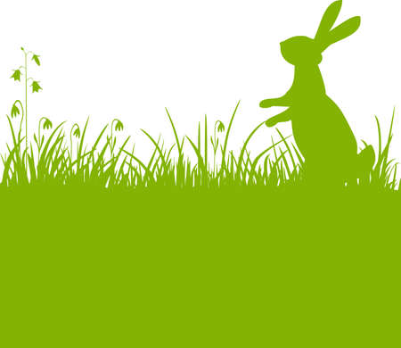 Easter bunny green background Illustration