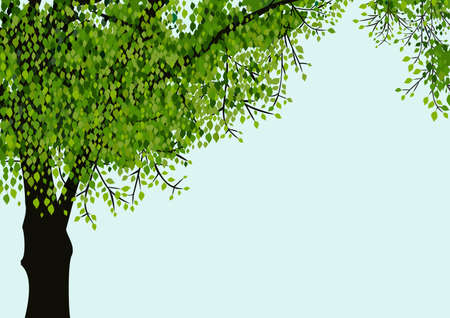 Tree isolated on blue sky background Ilustracja
