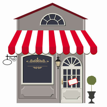 illustration of little cute retro store, shop or boutique
