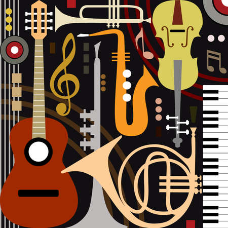 jazz guitar: Abstract musical instruments