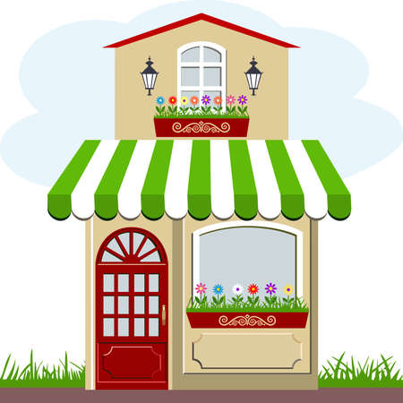 Cute little house and store Ilustracja