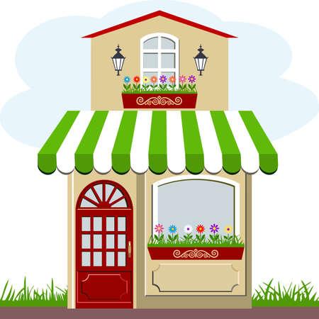 store window: Schattige kleine huis en winkel Stock Illustratie